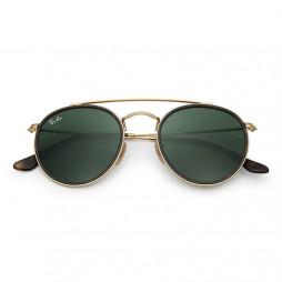 Solbriller, rund med dobbeltbro, Guld/Grøn