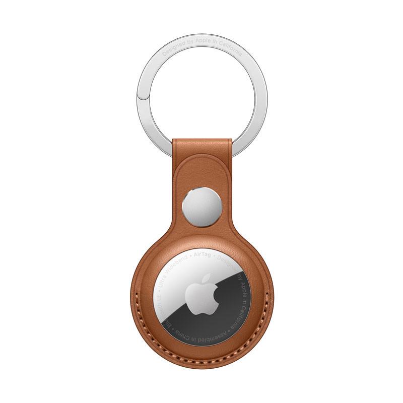 AirTag-nøglering i læder saddelbrun