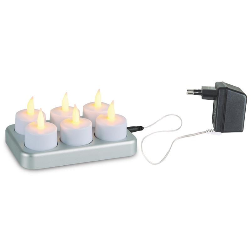 LED Chargeme lämpökynttilä, 6 kpl