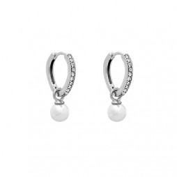 Petite Kennedy Hoops Earrings Ivory Pearl