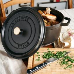 Round Cast Iron Cocotte 24 cm Black