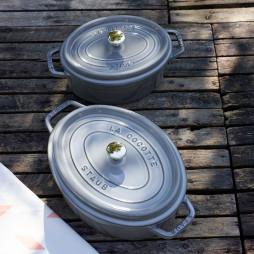 Oval Cast Iron Cocotte 29 cm Grey