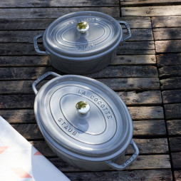 Round Cast Iron Cocotte 24 cm Grey