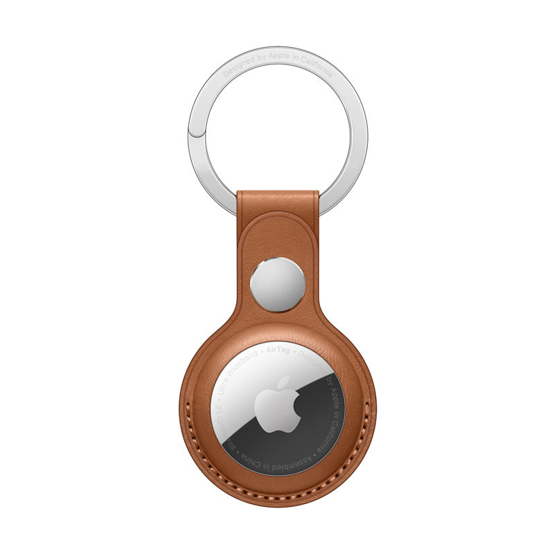 AirTag Leather Key Ring Saddle Brown