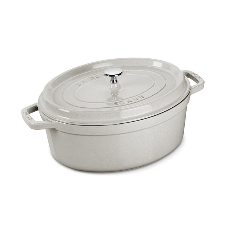 Oval Cast Iron Cocotte 29 cm White Truffle