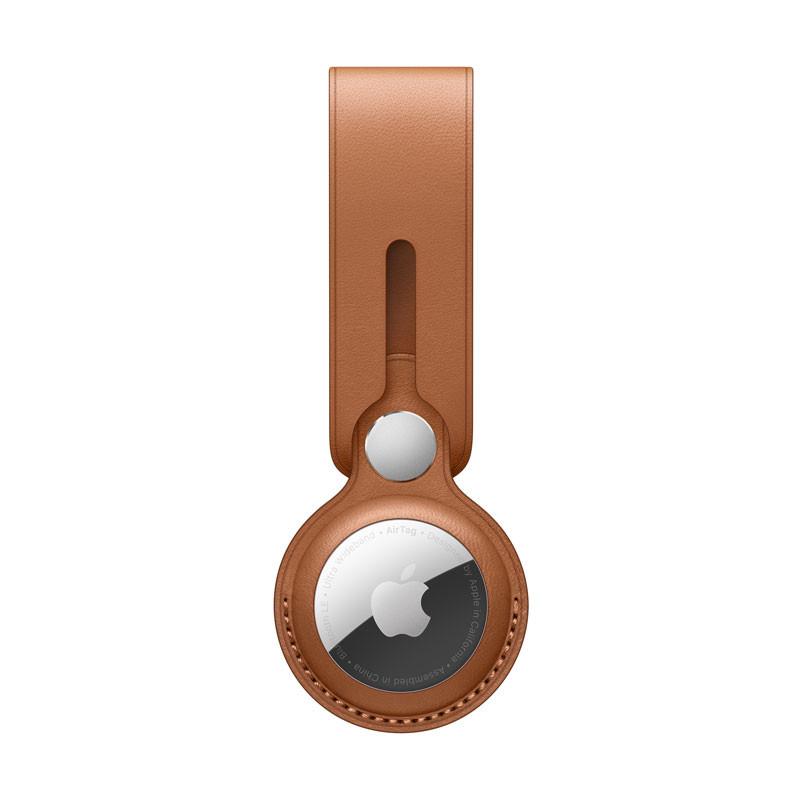 AirTag-loop i läder sadelbrun