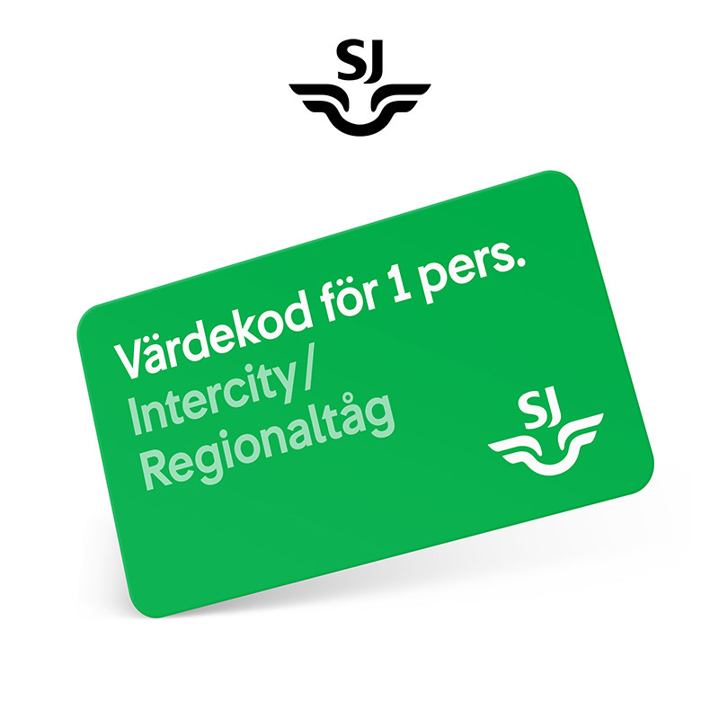 SJ Fribiljett med 2 klass Intercity/Regionaltåg